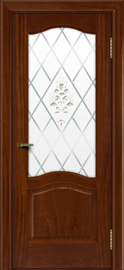 Двери ЛайнДор Пронто красное дерево тон 10 стекло Лилия