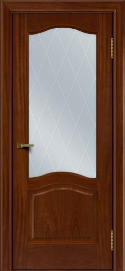 Двери ЛайнДор Пронто красное дерево тон 10 стекло Лондон