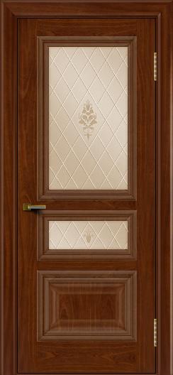 Двери ЛайнДор Агата красное дерево тон 10 стекло Лилия бронза