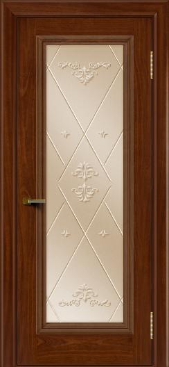 Двери ЛайнДор Валенсия красное дерево тон 10 стекло Прима бронза