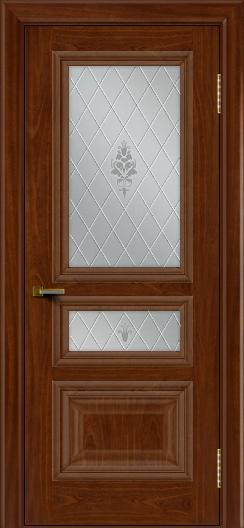 Двери ЛайнДор Агата красное дерево тон 10 стекло Лилия