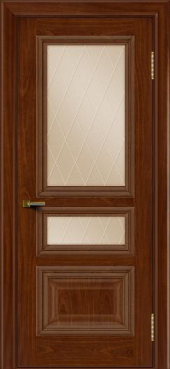 Двери ЛайнДор Агата красное дерево тон 10 стекло Лондон бронза