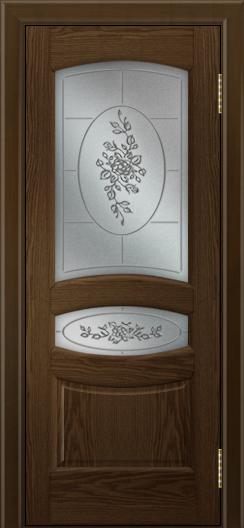 Двери ЛайнДор Алина 2 тон 35 стекло 3Д Роза наливка