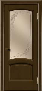 Двери ЛайнДор Анталия 2 тон 29 стекло 3Д Роза бронза