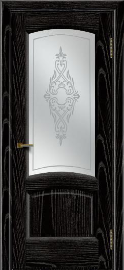 Двери ЛайнДор Анталия 2 эмаль черная тон 26 стекло Айрис сатин