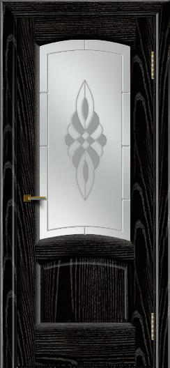 Двери ЛайнДор Анталия 2 эмаль черная тон 26 стекло Византия