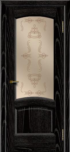 Двери ЛайнДор Анталия 2 эмаль черная тон 26 стекло Пальмира бронза