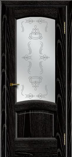 Двери ЛайнДор Анталия 2 эмаль черная тон 26 стекло Пальмира сатин