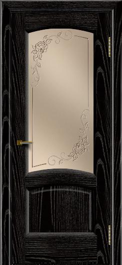 Двери ЛайнДор Анталия 2 эмаль черная тон 26 стекло 3Д Роза бронза