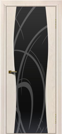 Двери ЛайнДор Арабика ясень жемчуг тон 27 стекло Арабика