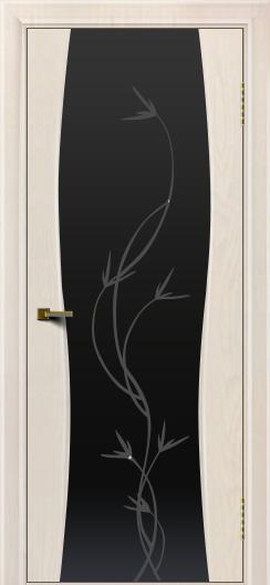 Двери ЛайнДор Арабика ясень жемчуг тон 27 стекло Флора