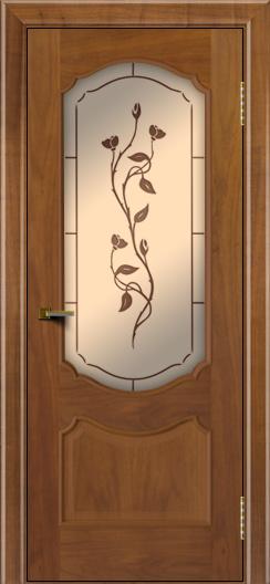 Двери ЛайнДор Богема американский орех тон 23 стекло Маки