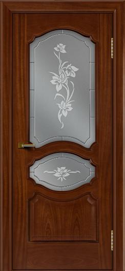 Двери ЛайнДор Богема красное дерево тон 10 стекло Рим