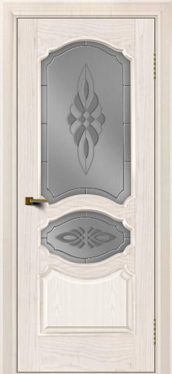 Двери ЛайнДор Богема ясень жемчуг тон 27 стекло Византия