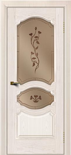 Двери ЛайнДор Богема ясень жемчуг тон 27 стекло Маки