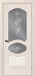 Двери ЛайнДор Богема ясень жемчуг тон 27 стекло Рим