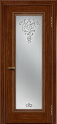 Двери ЛайнДор Валенсия красное дерево тон 10 стекло Версаль