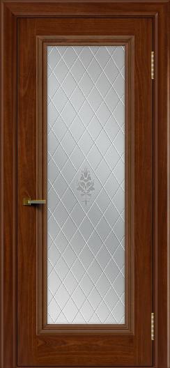 Двери ЛайнДор Валенсия красное дерево тон 10 стекло Лилия