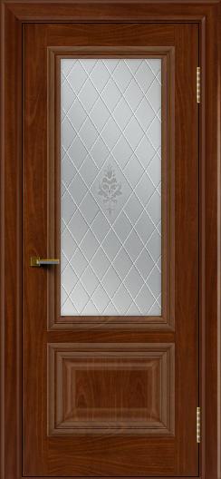 Двери ЛайнДор Виолетта красное дерево тон 10 стекло Лилия