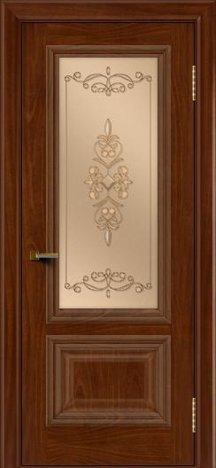 Двери ЛайнДор Виолетта красное дерево тон 10 стекло Эрика