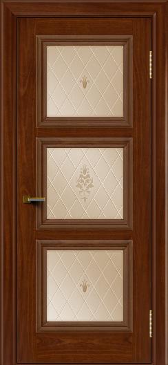 Двери ЛайнДор Грация красное дерево тон 10 стекло Лилия бронза