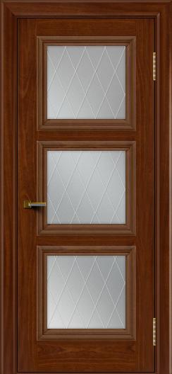 Двери ЛайнДор Грация красное дерево тон 10 стекло Лондон