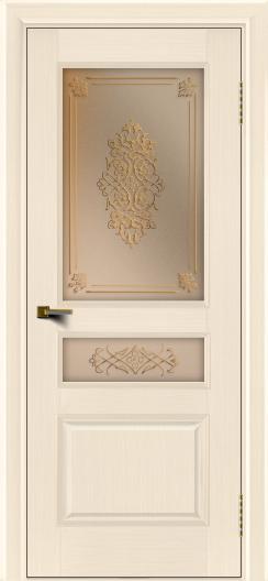 Двери ЛайнДор Калина беленый дуб тон 16 стекло Дамаск бронза 2