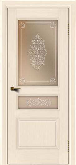 Двери ЛайнДор Калина беленый дуб тон 16 стекло Дамаск бронза