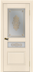 Двери ЛайнДор Калина беленый дуб тон 16 стекло Дамаск