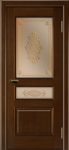 Двери ЛайнДор Калина орех тон 2 стекло Дамаск бронза 2