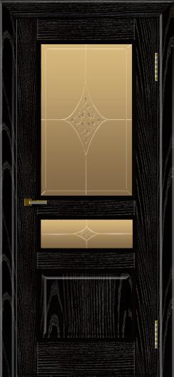 Двери ЛайнДор Калина черная эмаль тон 26 стекло Гелиос
