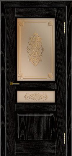 Двери ЛайнДор Калина черная эмаль тон 26 стекло Дамаск бронза 2
