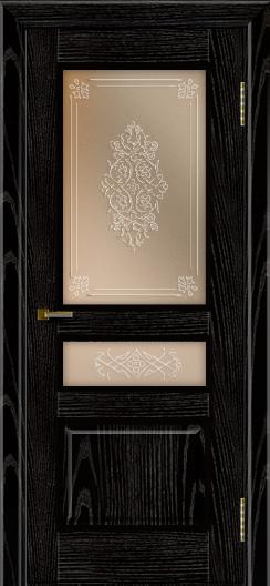 Двери ЛайнДор Калина черная эмаль тон 26 стекло Дамаск бронза