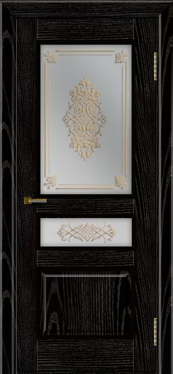 Двери ЛайнДор Калина черная эмаль тон 26 стекло Дамаск