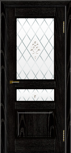 Двери ЛайнДор Калина черная эмаль тон 26 стекло Лилия