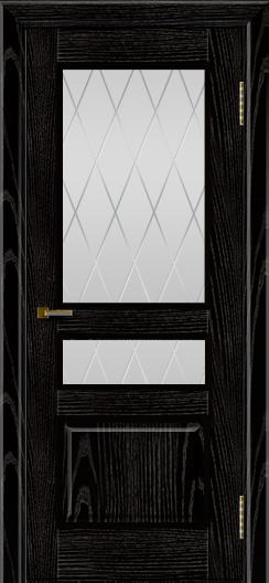 Двери ЛайнДор Калина черная эмаль тон 26 стекло Лондон