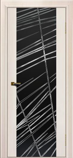 Двери ЛайнДор Камелия К ясень жемчуг тон 27 стекло Графит