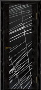 Двери ЛайнДор Камелия черная эмаль тон 26 стекло Графит