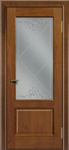 Двери ЛайнДор Кантри американский орех тон 23 стекло Узор