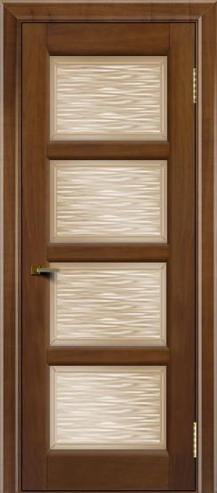 Двери ЛайнДор Классика 2 американский орех тон 23 стекло Волна бронза