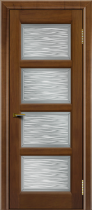 Двери ЛайнДор Классика 2 американский орех тон 23 стекло Волна сатин