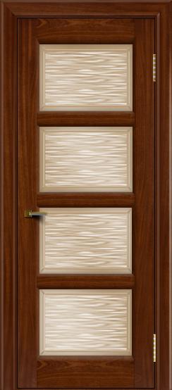 Двери ЛайнДор Классика 2 красное дерево тон 10 стекло Волна бронза