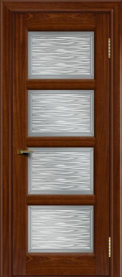 Двери ЛайнДор Классика 2 красное дерево тон 10 стекло Волна сатин