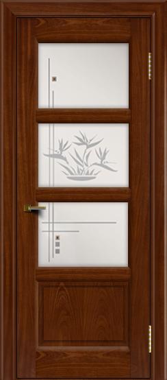 Двери ЛайнДор Классика 2 красное дерево тон 10 стекло Классика 3