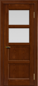 Двери ЛайнДор Классика 2 красное дерево тон 10 стекло белое 2
