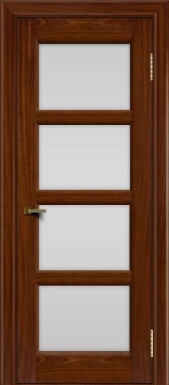 Двери ЛайнДор Классика 2 красное дерево тон 10 стекло белое 4