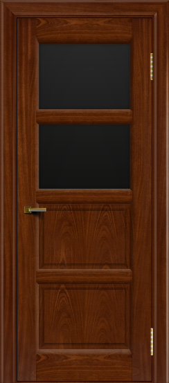 Двери ЛайнДор Классика 2 красное дерево тон 10 стекло черное 2