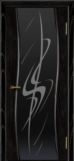 Двери ЛайнДор Лайма черная эмаль тон 26 стекло Пламя