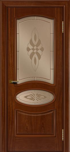 Двери ЛайнДор Оливия красное дерево тон 10 стекло Византия бронза