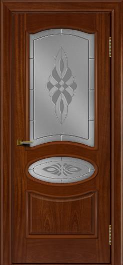 Двери ЛайнДор Оливия красное дерево тон 10 стекло Византия
